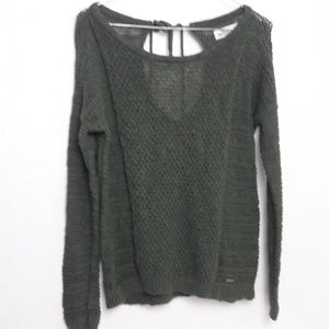 Hollister Khaki Green Chunky Sweater Back Ties S